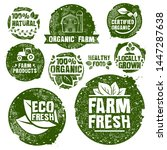 farm stamp set. organic food.... | Shutterstock .eps vector #1447287638