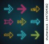 arrows neon light icons set....   Shutterstock .eps vector #1447309382