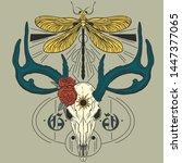 Deer Skull Antlers Roses Boho...