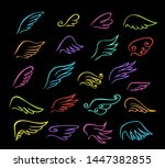 set of  abstract wings birds... | Shutterstock .eps vector #1447382855
