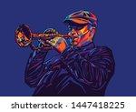 jazz trumpet player in a cap... | Shutterstock .eps vector #1447418225