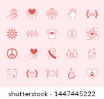 charity flat line icons set.... | Shutterstock .eps vector #1447445222