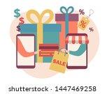 sale. online shopping set. flat ...