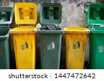 dirty green and yellow rubbish... | Shutterstock . vector #1447472642