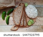 bread with homemade cheese and... | Shutterstock . vector #1447523795