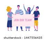 happy people holding hiring... | Shutterstock .eps vector #1447556435