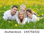 portrait of a happy family... | Shutterstock . vector #144756532