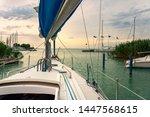 Sailboat head to lake Balaton ship prow view