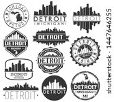 detroit usa skyline vector art... | Shutterstock .eps vector #1447646255