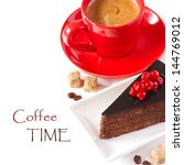 Delicious chocolate cake and cup of coffee. - stock photo
