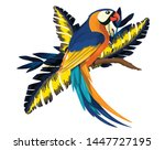 parrot painting colorful...   Shutterstock . vector #1447727195
