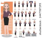 business woman character set on ... | Shutterstock .eps vector #1447787195