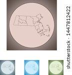 vector map of the massachusetts | Shutterstock .eps vector #1447812422