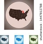 vector map of the michigan | Shutterstock .eps vector #1447812788