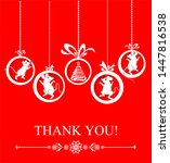 thank you card. celebration red ...   Shutterstock . vector #1447816538