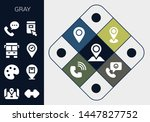 gray icon set. 13 filled gray...