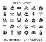 Beach Icon Set. 30 Filled Beac...