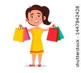 girl with shopping bags. joyful ... | Shutterstock . vector #1447842428