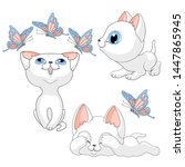 Stock vector kittens cats butterflies kitten cat white pets cartoon isolated set children illustration vector 1447865945