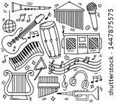 set of hand drawn music theme... | Shutterstock .eps vector #1447875575