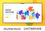 people group set up huge puzzle ... | Shutterstock .eps vector #1447889408