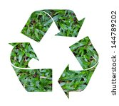 green recycle symbol with grass ... | Shutterstock . vector #144789202