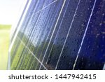 Dark Blue Solar Panel With Dew...