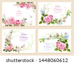 set of wedding invites  bouquet ... | Shutterstock .eps vector #1448060612