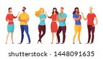 group of people communicating... | Shutterstock .eps vector #1448091635