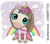 cute cartoon unicorn with...   Shutterstock .eps vector #1448097725