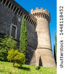 Ancient castle with towers of Rocca Pia in the center of Tivoli, Italy