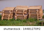 Stock photo stacks of wooden snail boards for edible snails helix aspersa muller maxima snail organic 1448127092