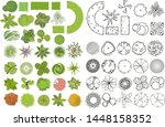 trees top view. different trees ... | Shutterstock .eps vector #1448158352