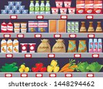 shelves with products  shop... | Shutterstock .eps vector #1448294462