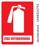fire extinguisher icon on red... | Shutterstock .eps vector #1448324792