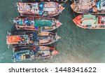 Top View From Sky Of Group Of...
