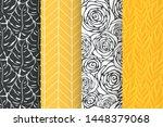 monstera  roses  leaves ... | Shutterstock .eps vector #1448379068