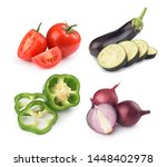 set of vegetables on a white... | Shutterstock . vector #1448402978