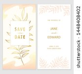 floral vector card with golden... | Shutterstock .eps vector #1448408402