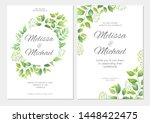 wedding invitation with green... | Shutterstock .eps vector #1448422475