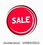 sale sticker red color. round... | Shutterstock .eps vector #1448423012
