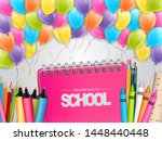 welcome back to school... | Shutterstock .eps vector #1448440448