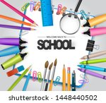 welcome back to school concept... | Shutterstock .eps vector #1448440502
