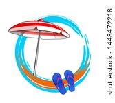 decorative round summer frame... | Shutterstock .eps vector #1448472218