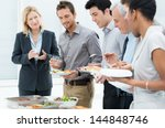 business colleagues eating meal ... | Shutterstock . vector #144848746