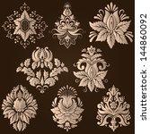 vector set of damask ornamental ... | Shutterstock .eps vector #144860092