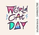 world cat day icon hand drawn... | Shutterstock .eps vector #1448631788