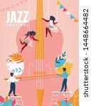 jazz festival vertical banner.... | Shutterstock .eps vector #1448664482