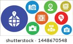 photograph icon set. 9 filled... | Shutterstock .eps vector #1448670548