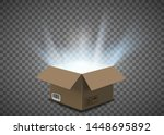 open cardboard box with a glow... | Shutterstock .eps vector #1448695892
